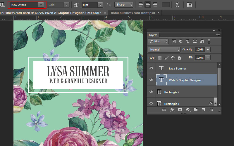 How to make a print ready floral business card in adobe photoshop floral business card tutorial photoshop colourmoves