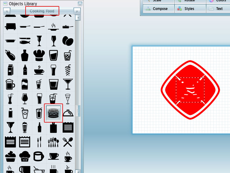 Step 3-Red Burger Logo Tutorial with AAA Logo