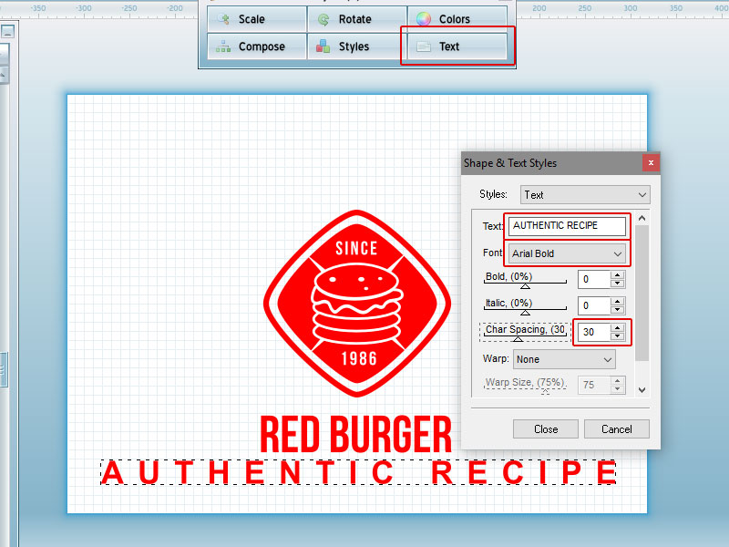 Step 4-Red Burger Logo Tutorial with AAA Logo