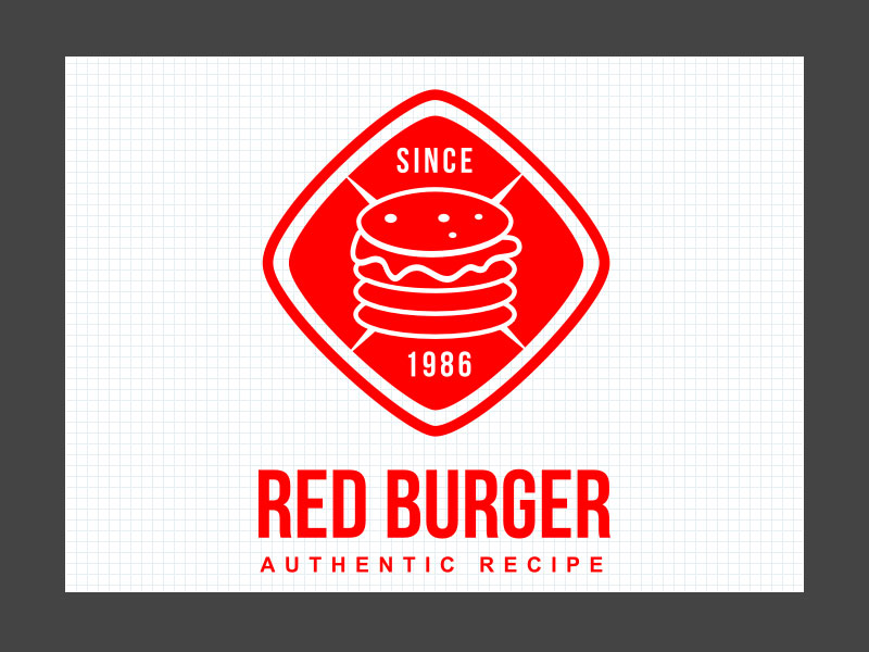 Result-Red Burger Logo Tutorial with AAA Logo