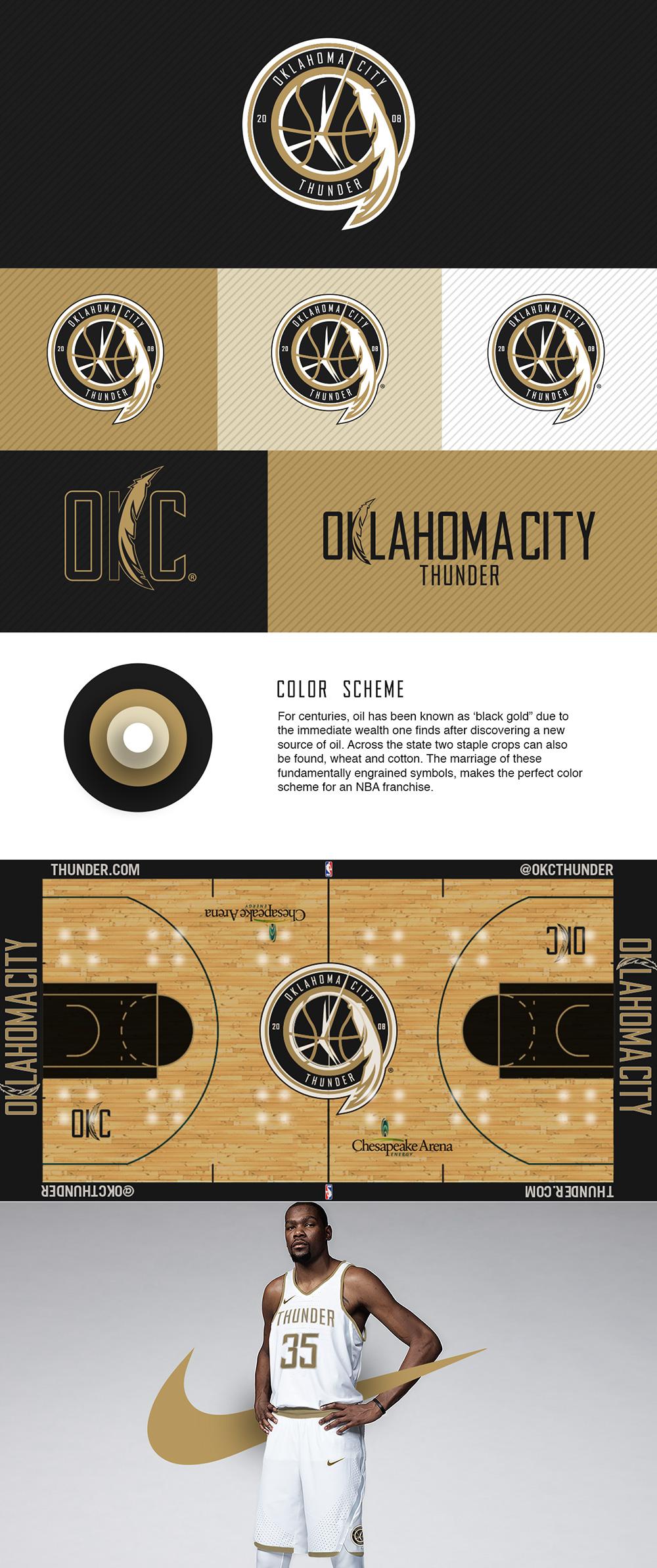 Logotipo del equipo de baloncesto: Oklahoma City Thunder - Rebrand por Trevor Morse