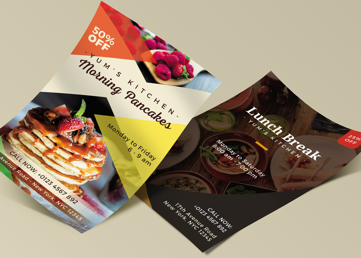 Freebie Yums Food Flyer Template 3 Layouts Psd