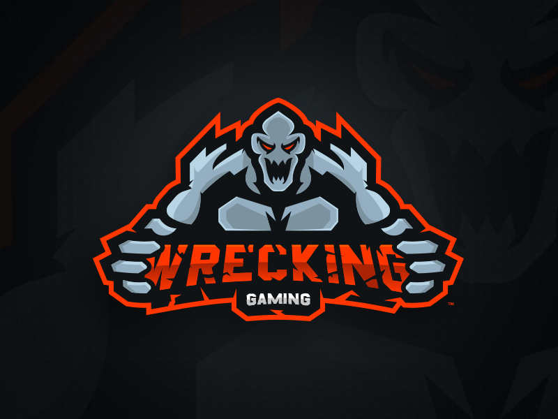 Wrecking Gaming Primary Logo - Mascot diseño de logotipos