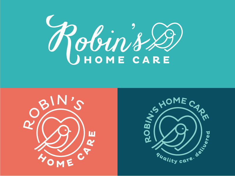 Robin's Home Care Logo Variations by Andrea Fairservice