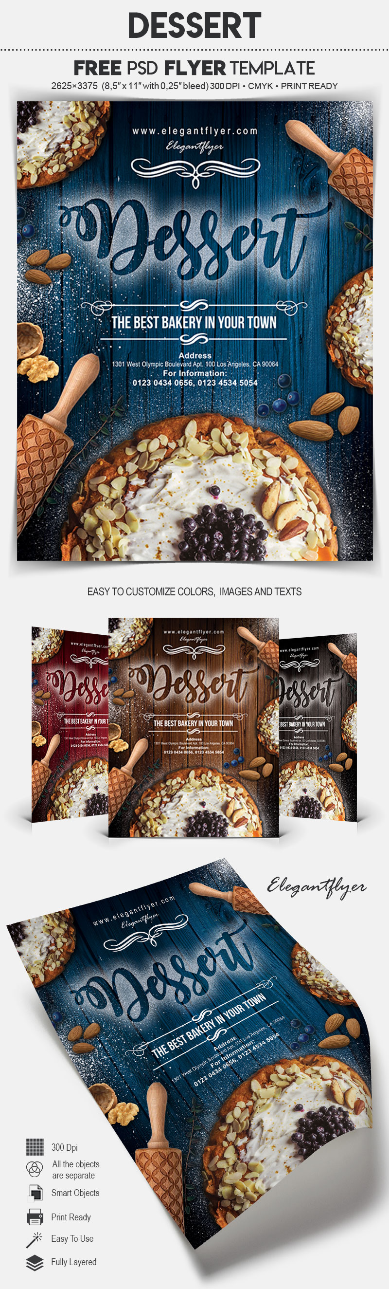 Free Dessert Food Flyer PSD Template