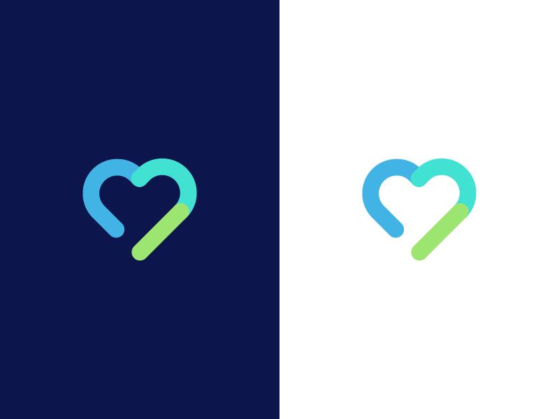 corazón / salud / conectividad / diseño de logotipo por Deividas Bielskis