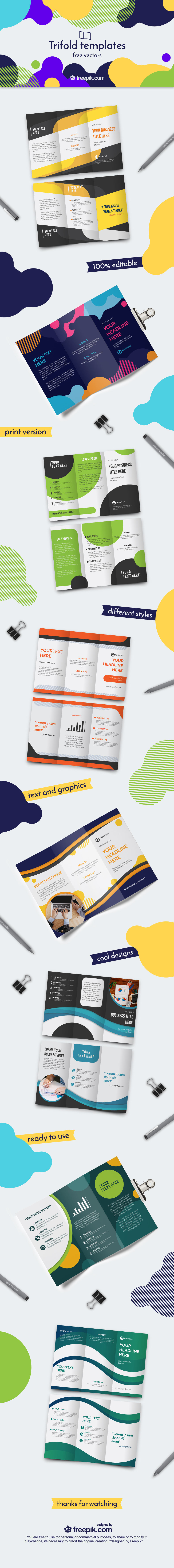 Free Trifold Brochure Vector Templates