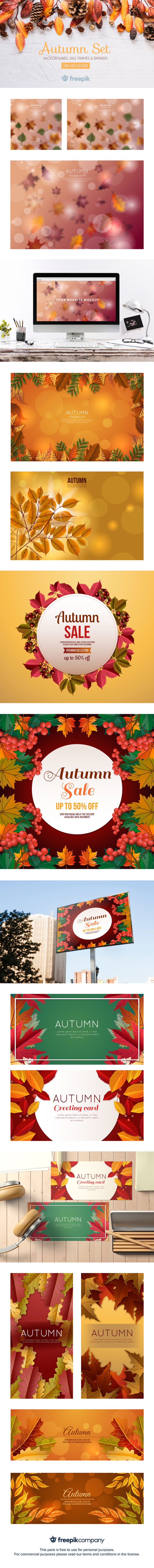 Free Autumn Set for Banner, Backgrounds and Headers
