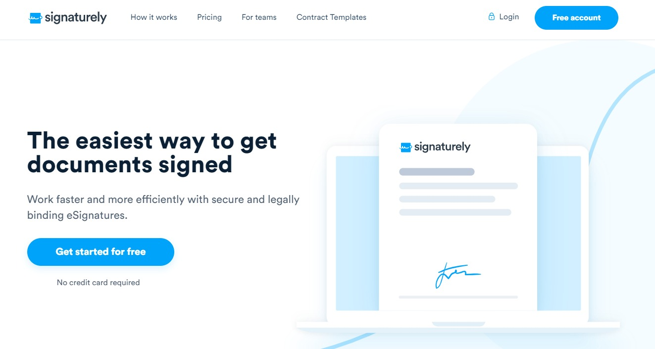 Signaturely - Perfectly legal signatures, stupidly fast