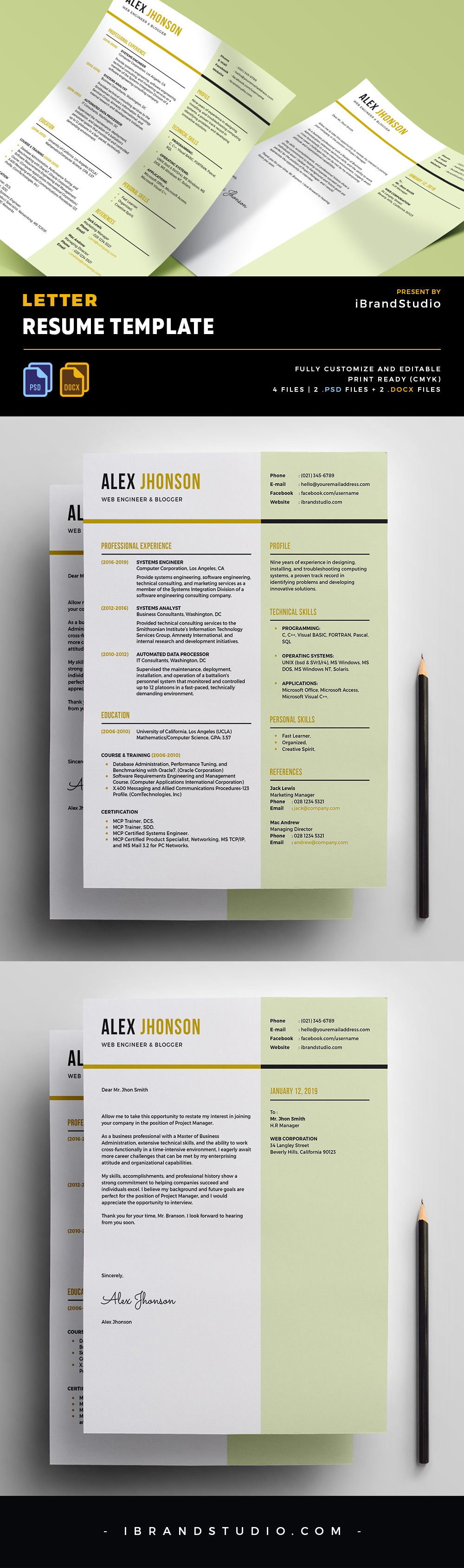 Free Letter Resume Template (PSD, DOCX)