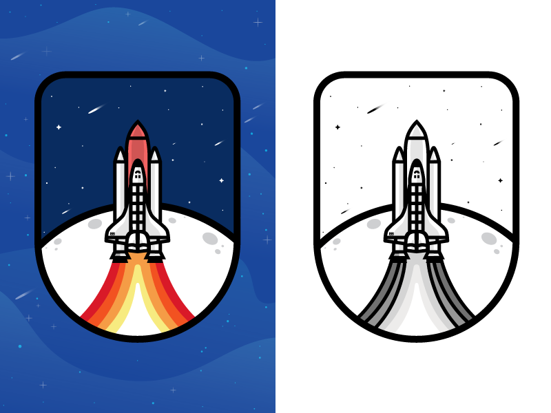 Badge illustration - rocket logo