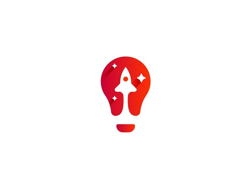 Light bulb + rocket - rocket logo