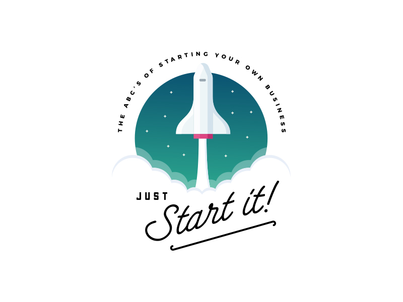 To the stars and beyond - rocket logo