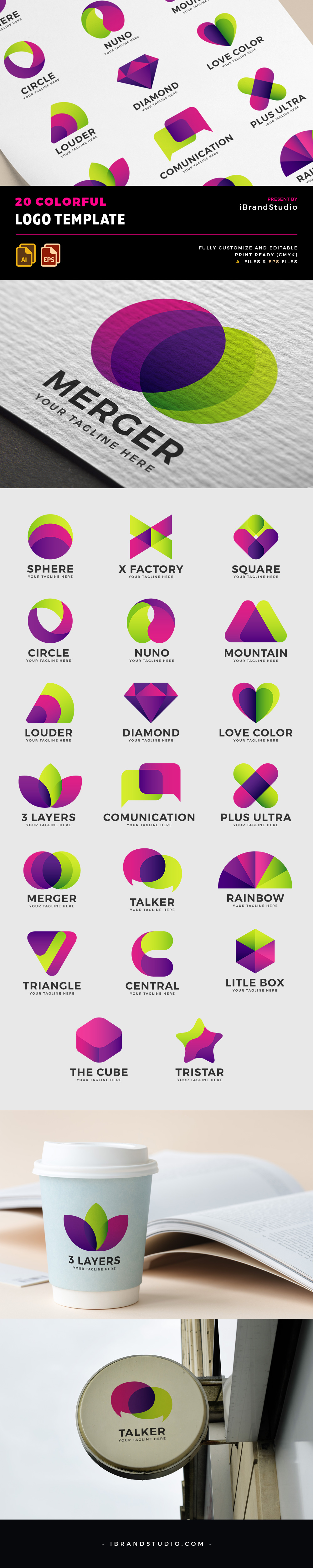 20 Free Colorful Logos