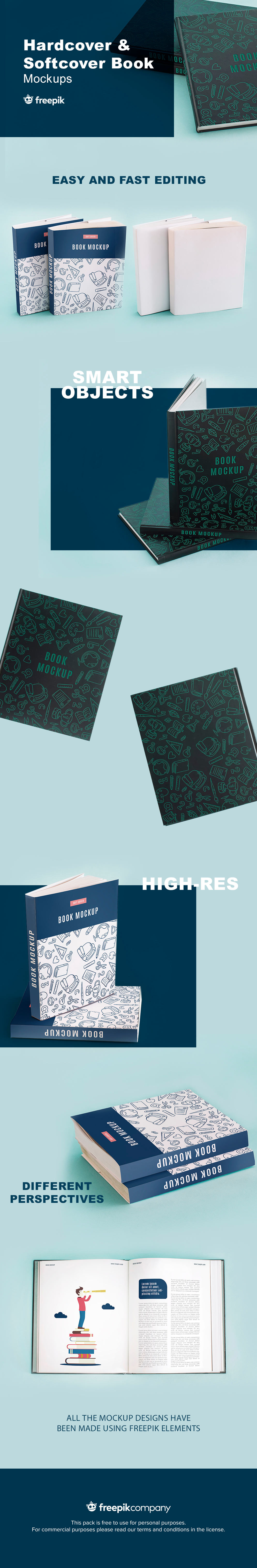 Free Hardcover and Softcover Book Mockup Set