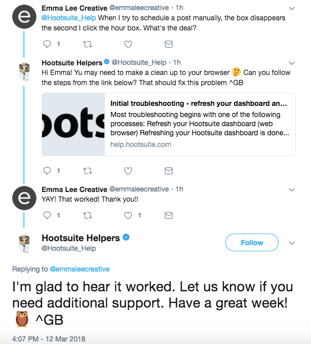 HootSuite Helpful Content Twitter Reply