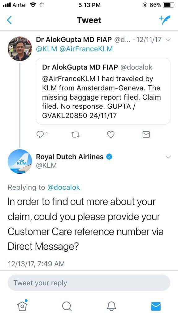 Royal Dutch Airlines Twitter respond