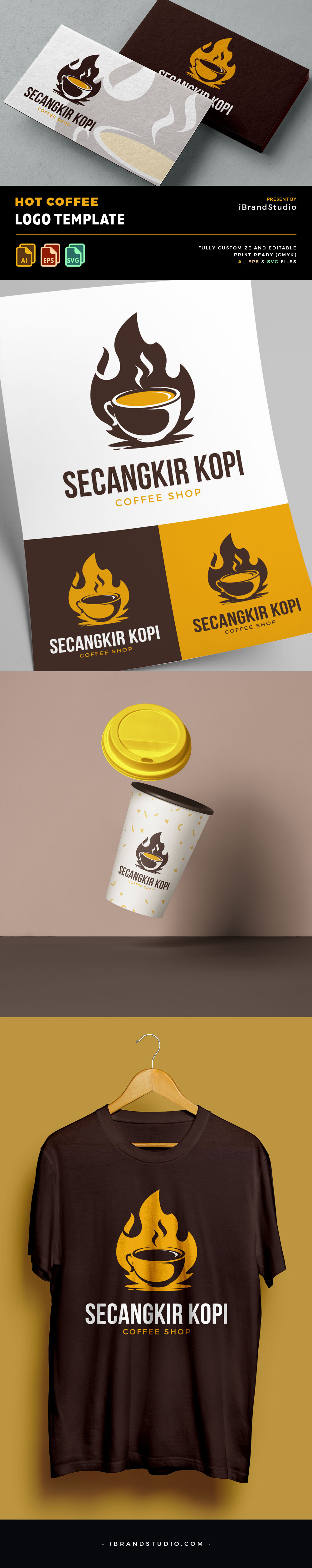 Free Hot Coffee Logo Template (AI, EPS)
