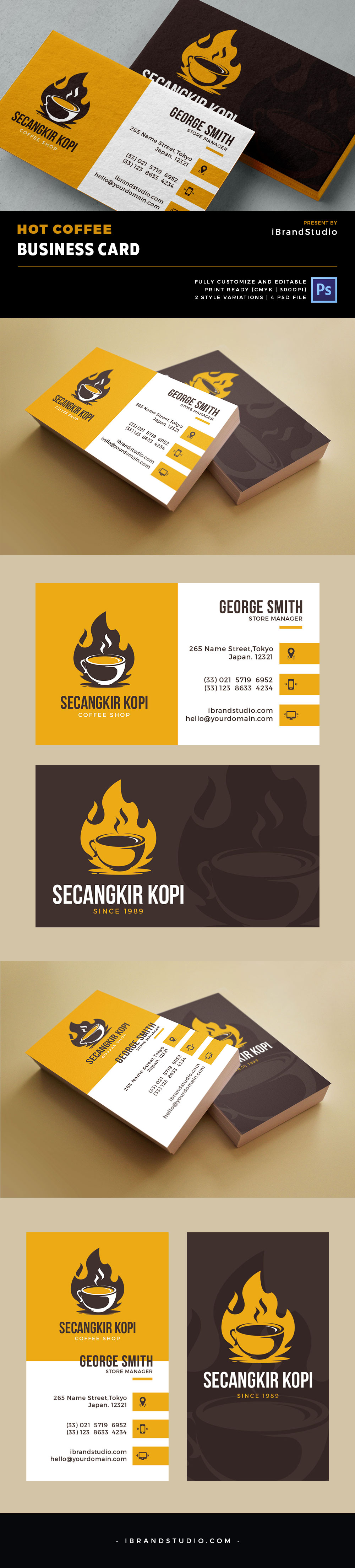 Free Hot Coffee Business Card PSD Template