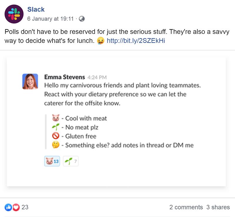 Slack on Facebook
