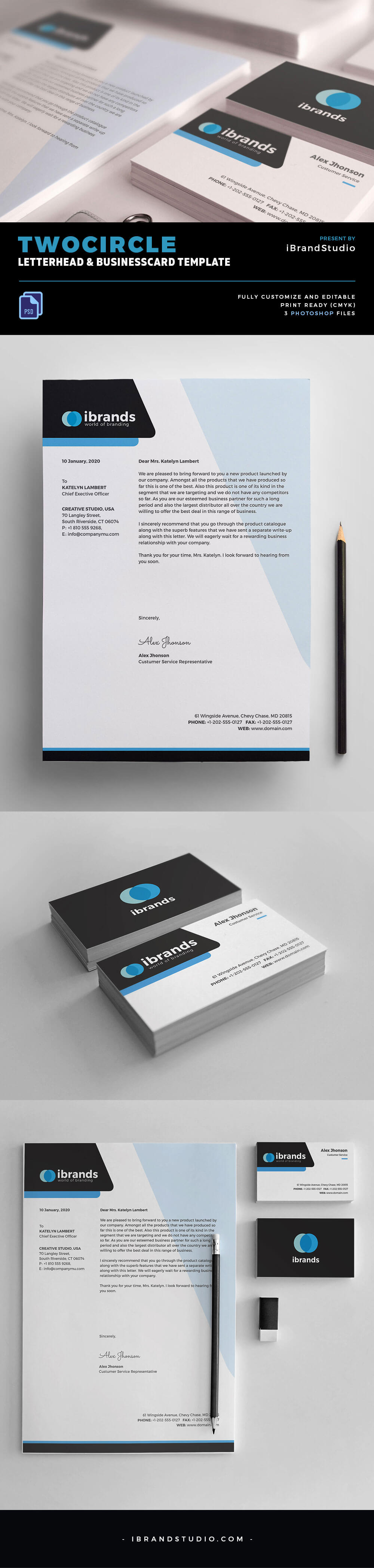 Two Circle Free Business Card Template PSD
