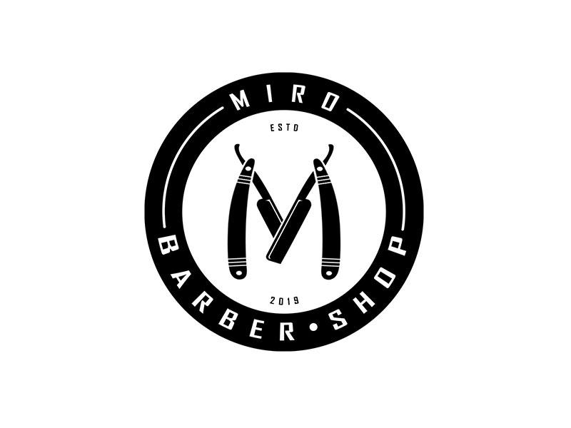 Idea de diseño de logotipo de barbería: identidad de marca de Miro's Barber Shop®
