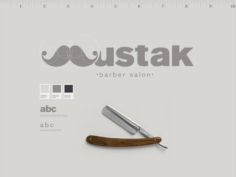 Idea de diseño de logotipo de barbería - Mustak - peluquería