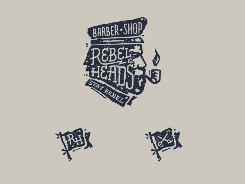 Idea de diseño de logotipo de barbería - peluquería de Rebel Heads