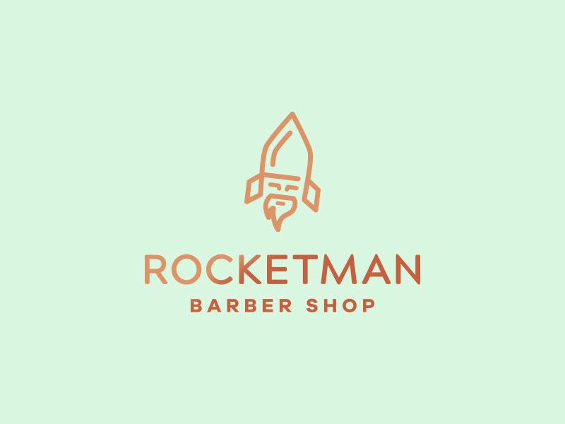 Idea de diseño de logotipo de barbería - Rocketman Barber Shop
