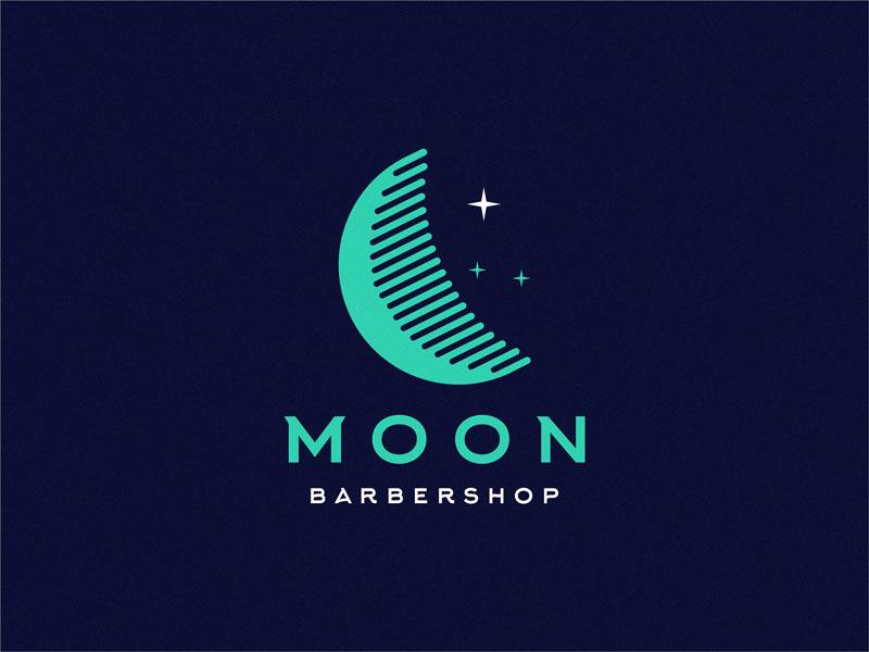 Idea de diseño de logotipo de barbería - Moon Barbershop