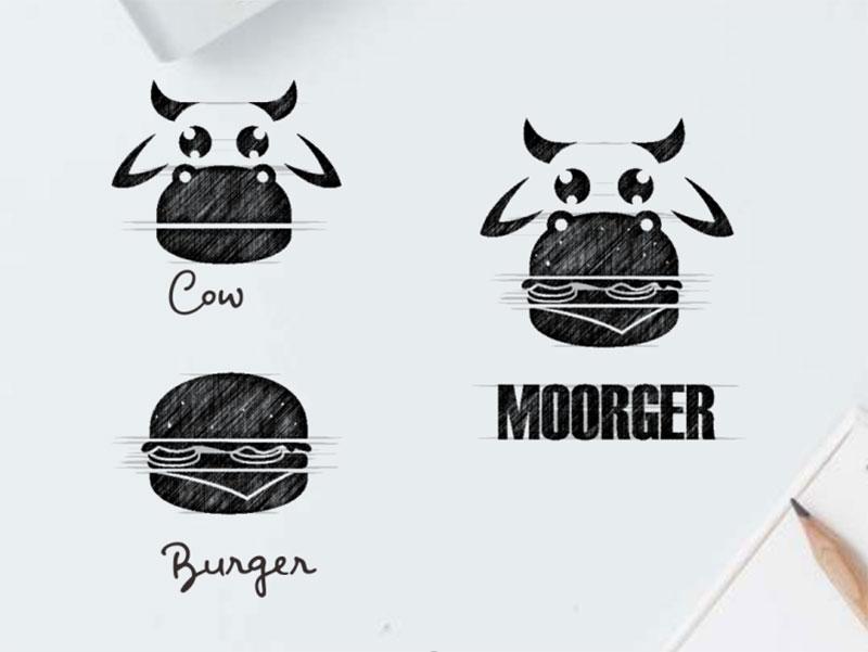Cow + burger logo combination