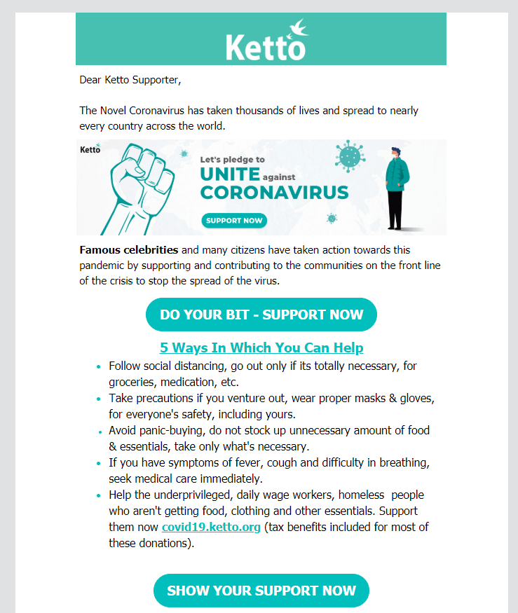 Ketto.org Email Marketing