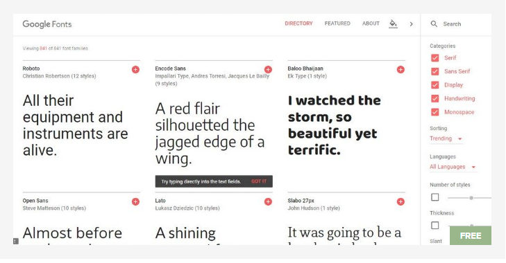 Google Fonts Site - Free Fonts Website