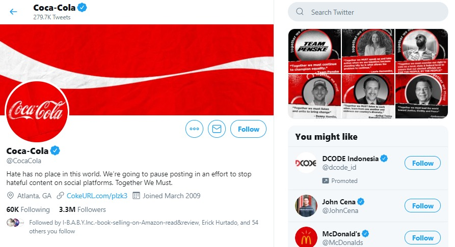 The CocaCola Company Twitter Account