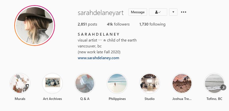 SarahDelaneyArt Instagram Account