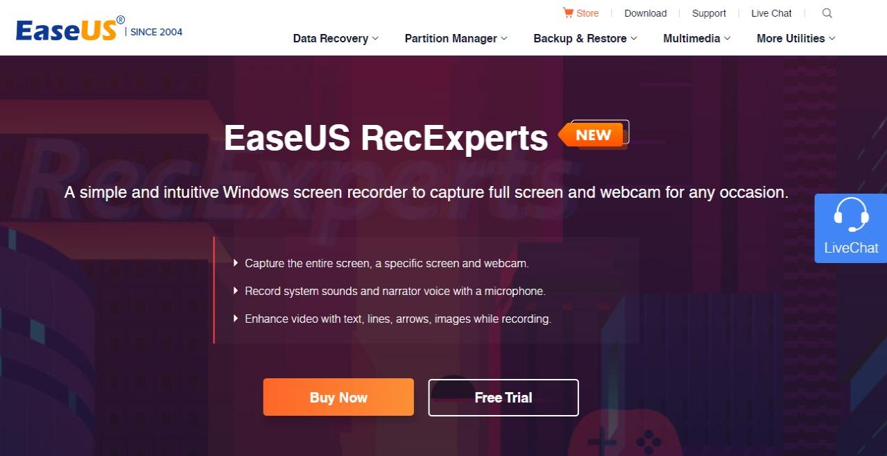 Free Windows Screen RecorderEaseUS RecExperts