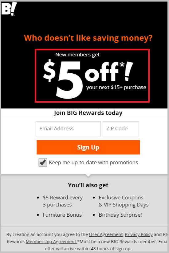 BigLots $5 reward offer